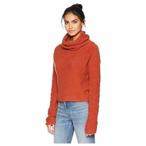 Free People cowl neck sweater, burnt orange